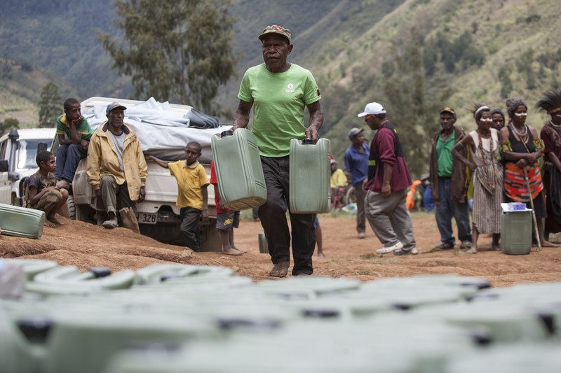 Jerry cans being distributed during the drought caused by an El Niño, Papua New Guinea