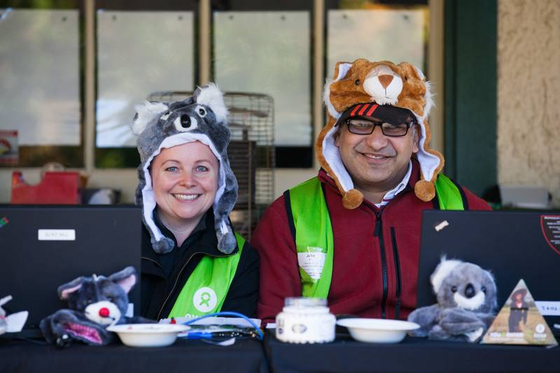 Oxfam Trailwalker Melbourne 2015. Checkpoint 5. Volunteer Belinda Ali with husband Jafer Ali. Photo credit: Timothy Herbert/OxfamAUS