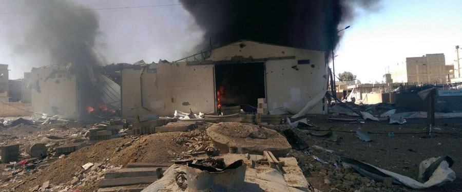 Oxfam's warehouse in Saada, in the Northern Governorate in Yemen, after a coalition airstrike hit on Saturday April 18th , 2015. Photo: Oxfam