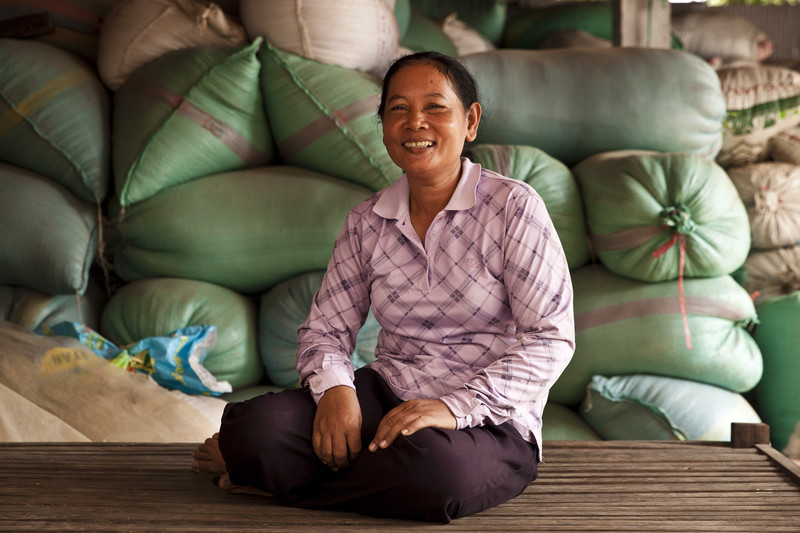 KhekKoeu, 55, a rice seed producer in Pursat province and expert rice farmer trained in use of the System of Rice Intensification. Photo: Panos Pictures/Patrick Brown