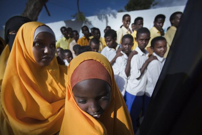 Students at General Daud School in Mogadishu. Three hundred students ranging from six to 25 years old attend General Daud School in Mogadishu. Photo: Petterik Wiggers.