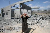 Greenhouses in Gaza destroyed in Israeli airstrikes. Photo: Mohammed Al Baba/Oxf