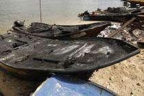 Bateau de pêche détruit à Gaza par une frappe israélienne. Photo : Oxfam