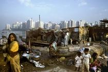 Indian slum with city in background
