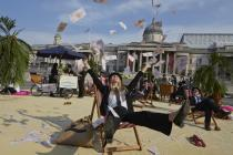 London's iconic Trafalgar Square was transformed into an interactive, tropical tax haven