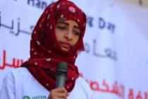 An Oxfam Community Health Volunteer speaks at a public health promotion event to celebrate Global Handwashing Day in Taiz. Photo: Oxfam