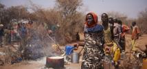 Distribución de los alimentos proporcionados por el Gobierno etíope en el refugio temporal de Korile, en la región de Somalia, donde las zonas de pastoreo se enfrentan a la profunda escasez de agua y alimentos. Foto: Tina Hillier/Oxfam