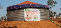 An Oxfam water tank at Nyarugusu Refugee Camp, in Tanzania. Photo: Bill Marwa