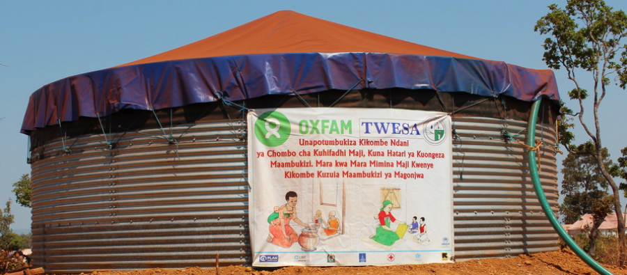 An Oxfam water tank at Nyarugusu Refugee Camp, in Tanzania. Photo: Bill Marwa