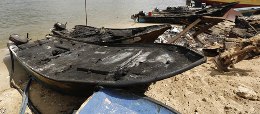 Destroyed fishing boats in Gaza