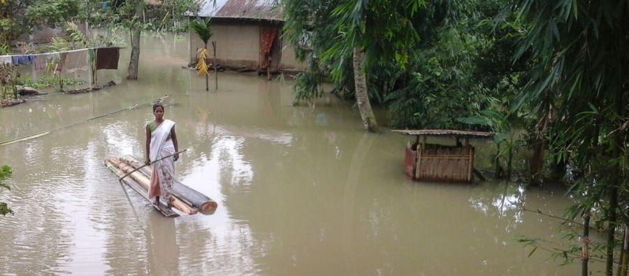 Dans le Nord-Est de l'Inde, les pluies se sont abattues sur les États d'Assam et de Manipur, entrainant des inondations et laissant plus d'un million de personnes sans abri. Photo: Oxfam India