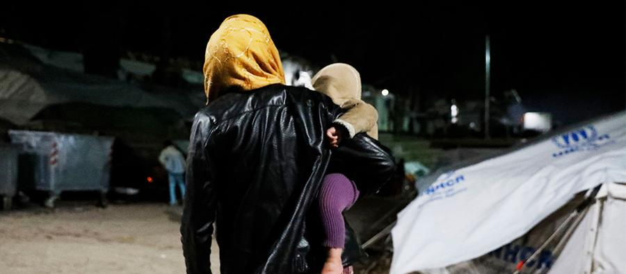 In Moria camp on Lesvos, more than 6,000 people live in overcrowded tents and containers, with little access to proper shelter, food, water, sanitation, health care, or protection. Photo: Giorgos Moutafis
