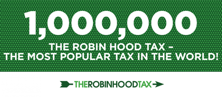 Banner - 1 million signatures for the Robin Hood Tax