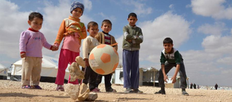 Enfants syriens réfugiés au camp de Zaatari, Jordanie